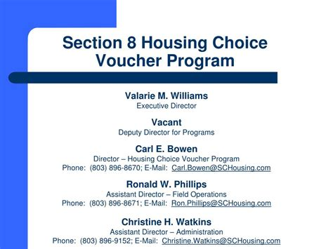 section 8 housing choice voucher ppt south carolina state housing finance and development