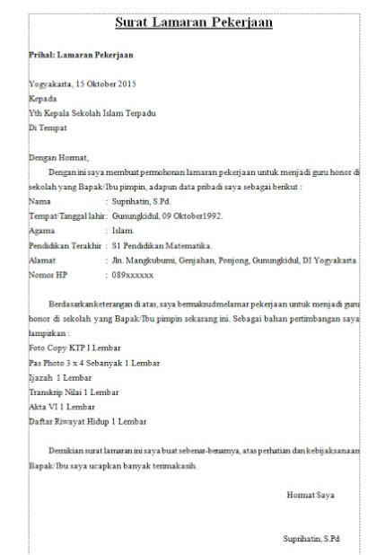 Surat Lamaran Diketik by Pin By Contoh Surat Lamaran Kerja On Contoh Surat Lamaran