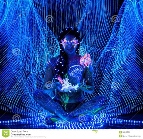 Girl with body art stock image. Image of fluorescent ...