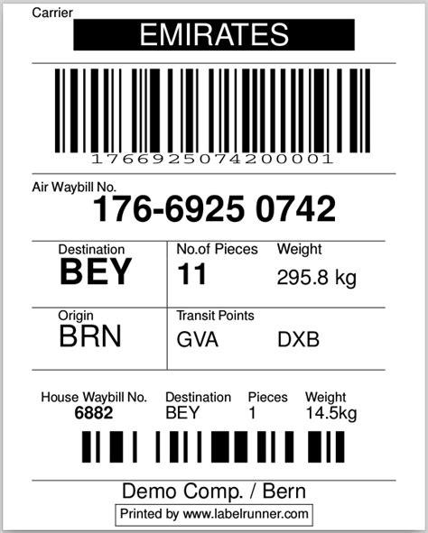 labelrunner logistics software textwarehouseawb label