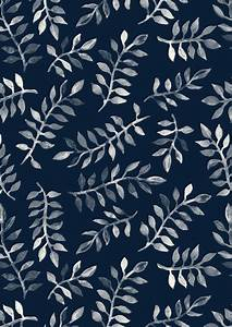 White Leaves on Navy - a hand painted pattern Art Print by ...
