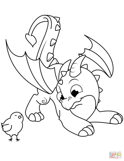 cute dragon  chick coloring page  printable coloring pages