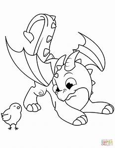 Cute Dragon And Chick Coloring Page