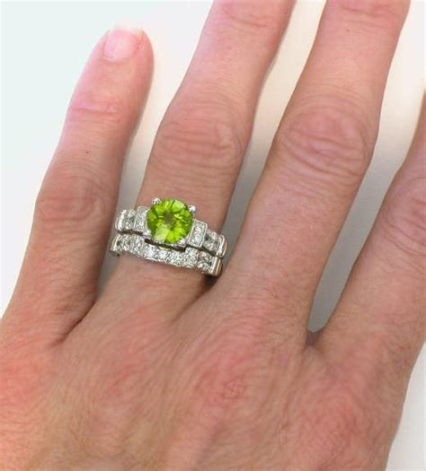 Peridot Engagement Ring In 14k White Gold With Matching