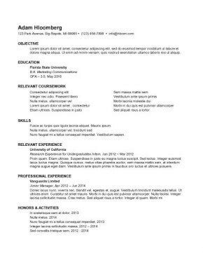 resume for internship 998 sles 15 templates how to