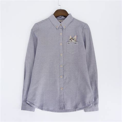 sleeve embroidery shirt womens cat embroidery shirt casual sleeve blouse