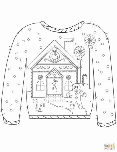Ugly Sweater Christmas Gingerbread Coloring Pages Colouring