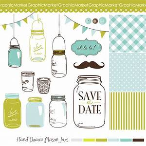 14 hand drawn mason jars and polka dot digital paper With paper clips for wedding invitations
