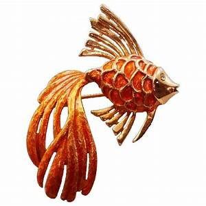 Rare and Beautiful Boucher Vintage Orange Enameled Fish ...
