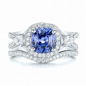 custom blue sapphire engagement ring 1432 With sapphire wedding ring