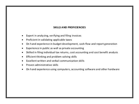 Skills Of An Accountant Resume by Accounting Resume Sle Pdf