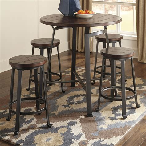 round bar table and chairs ashley signature design challiman 5 piece round counter