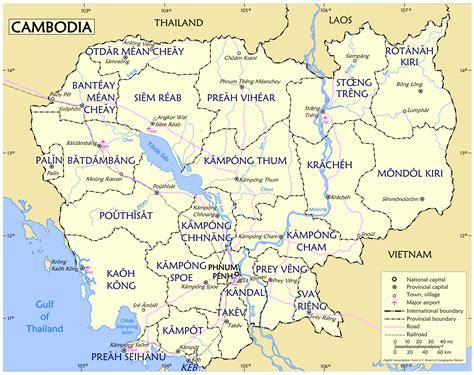 large detailed provinces map  cambodia cambodia asia