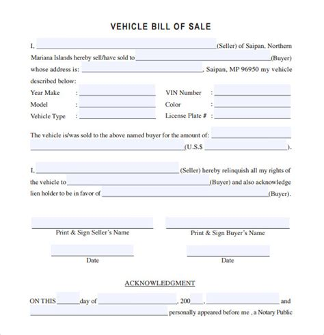 vehicle bill  sale template