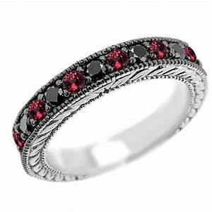 080ct black diamond ruby wedding ring vintage antique style With ruby and black diamond wedding rings