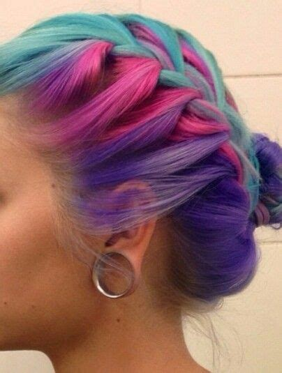 Blue Pink Purple Braided Dyed Hair Manicpanicnyc Dyed