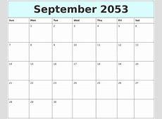 July 2053 Monthly Calendar