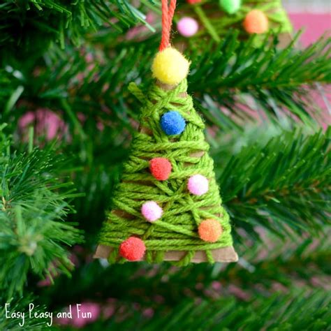 yarn wrapped christmas tree ornaments easy peasy and fun
