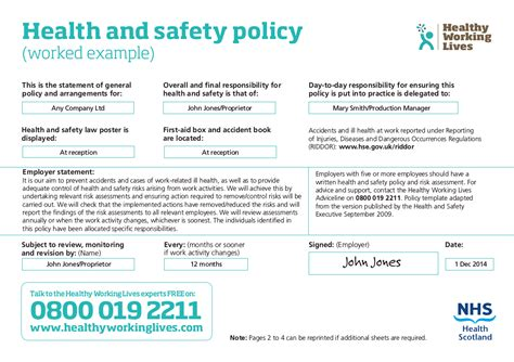 Health And Safety Statement Of Intent Template - Costumepartyrun