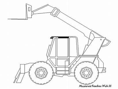 Gambar Mewarnai Eskavator Kendaraan Konstruksi Untuk Coloring
