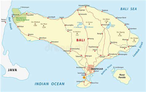 bali map stock vector illustration  reef strait bali