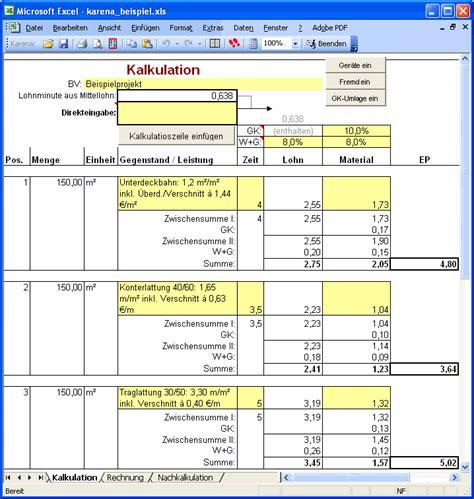 excel vorlagen handwerk kalkulation kostenlos papacinfo