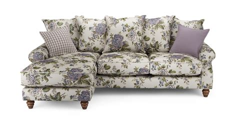 ellie floral left facing 4 seater chaise end sofa