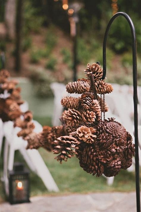 budget friendly rustic winter pinecone wedding ideas
