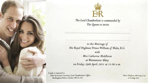william  kates royal wedding invitation