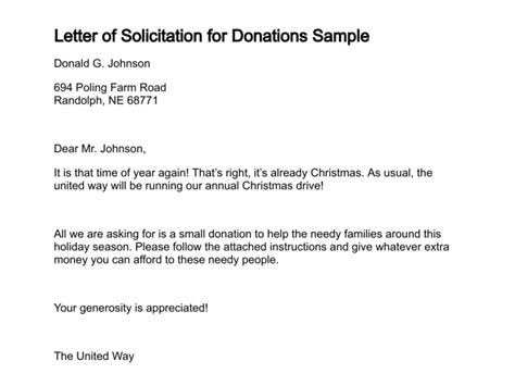 christmas donation request letter of solicitation