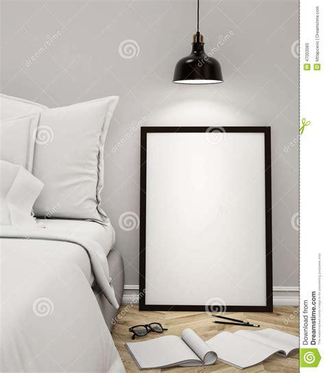 mock  blank poster   wall  bedroom