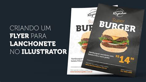 como criar um flyer  lanchonete  illustrator
