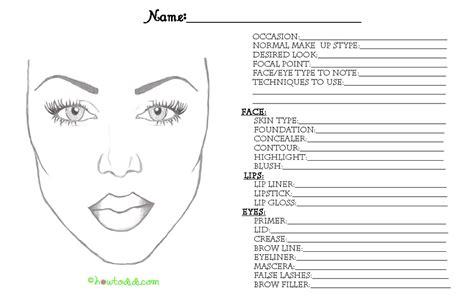 Makeup Face Coloring Printable Blank Charts
