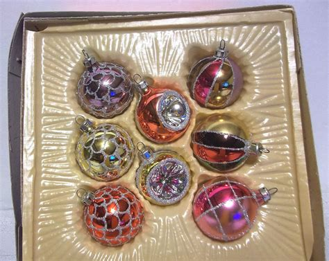 vintage glass christmas ornaments boxed kmart made in romania