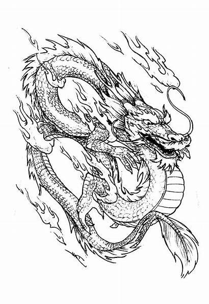 Dragon Coloring Chinese China Fire Asia Pages