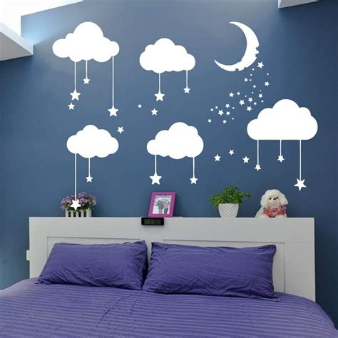 Kids room wall hanger decor nordic handmade nursery star garlands christmas kids room hanging wall decor tent bed star hanging. AmazonSmile: Big Clouds Stars Wall Decal Kids Nursery Bedroom Decor Sticker Clouds Moon Stars ...