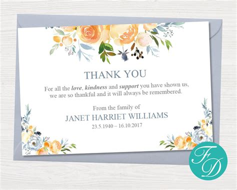 However, if you're still looking for the ideal set of bereavement thank you notes i've found several other lovely ones on. Yellow Rose Funeral Thank You Notes Funeral Template | Etsy | Funeral thank you notes, Funeral ...