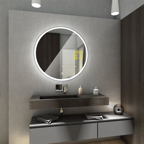 badspiegel rund mit beleuchtung delhi badspiegel mit led beleuchtung rund spiegel touch schalter wetterstation ebay