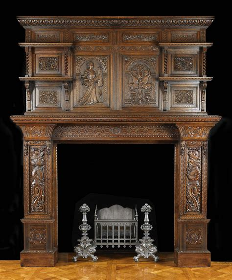 jacobean style carved oak antique fireplace and antique carved oak jacobean fireplace mantel a small oval
