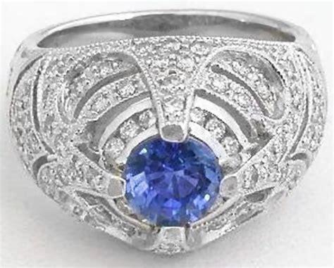 bold estate style  blue sapphire  diamond ring