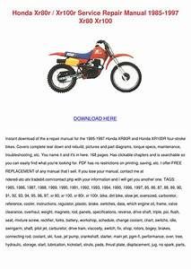 Honda Xr80r Xr100r Service Repair Manual 1985 By Francisca