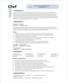 chef sle resume templates sle chef resume 8 exles in word pdf