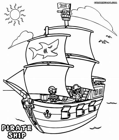 Pirate Ship Coloring Pages Shark Pirateship Colorings