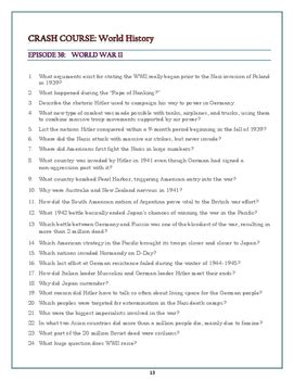 crash course world history worksheets episodes 36 42 by great history teaching