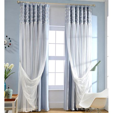 blue and white curtains blue blackout fabric and white lace curtain