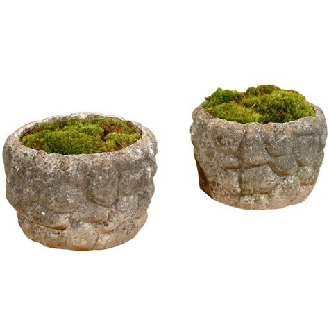 Pair Of Planters In Faux Stone Design At 1stdibs
