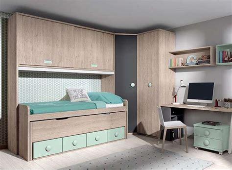 dormitorio puente juvenil cama nido cajones  escritorio