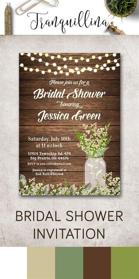 rustic bridal shower invitation printable bridal shower