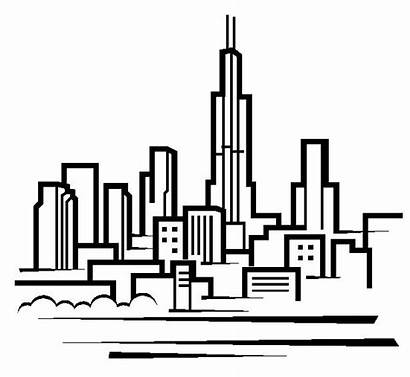Chicago Skyline Clipart Drawing Clip Downtown Easy