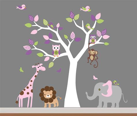stickers elephant chambre bébé baby room wall decor nursery jungle wall decal tree